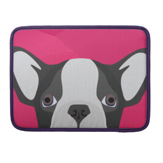Illustration French Bulldog with pink background Sleeve For MacBook Pro