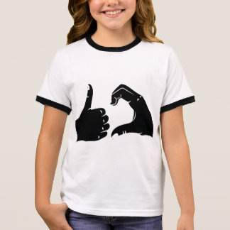 Illustration Friendzoned Hands Shape Ringer T-Shirt