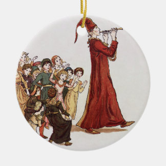 Illustration from The Pied Piper of Hamelin Book Round Ceramic Decoration