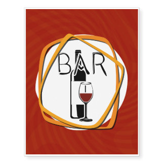 Illustration Glass of Wine in a bar