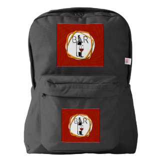 Illustration Glass of Wine in a bar Backpack
