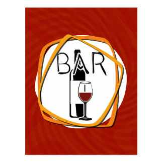 Illustration Glass of Wine in a bar Postcard