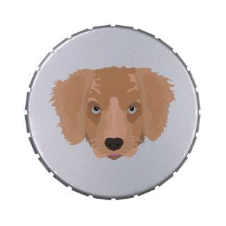 Illustration Golden Retriever Puppy Candy Tins