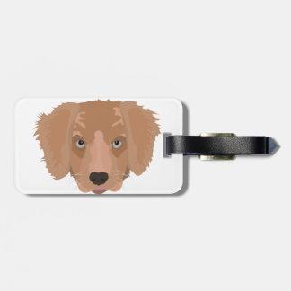 Illustration Golden Retriever Puppy Luggage Tag