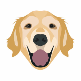 Illustration Golden Retriever Standing Photo Sculpture