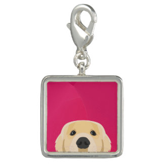 Illustration Golden Retriver with pink background
