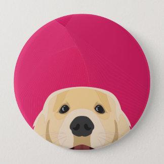 Illustration Golden Retriver with pink background 10 Cm Round Badge