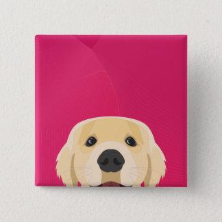 Illustration Golden Retriver with pink background 15 Cm Square Badge