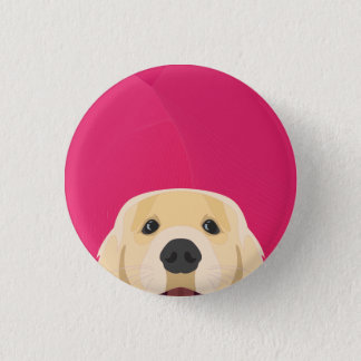 Illustration Golden Retriver with pink background 3 Cm Round Badge