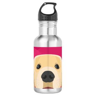 Illustration Golden Retriver with pink background 532 Ml Water Bottle