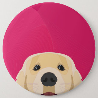 Illustration Golden Retriver with pink background 6 Cm Round Badge