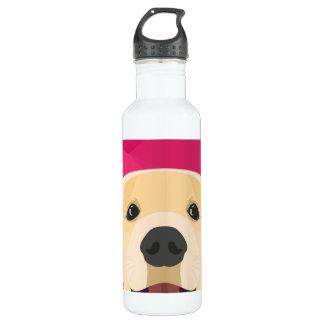 Illustration Golden Retriver with pink background 710 Ml Water Bottle