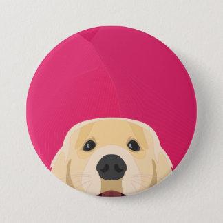 Illustration Golden Retriver with pink background 7.5 Cm Round Badge