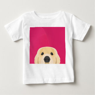 Illustration Golden Retriver with pink background Baby T-Shirt