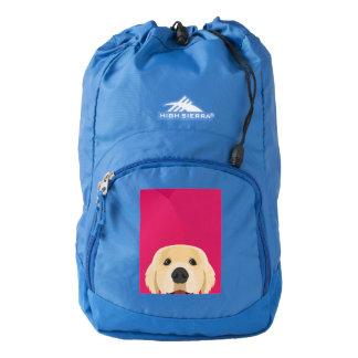 Illustration Golden Retriver with pink background Backpack