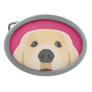 Illustration Golden Retriver with pink background Belt Buckle