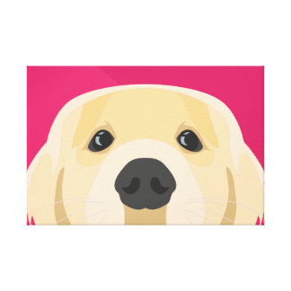 Illustration Golden Retriver with pink background Canvas Print
