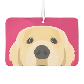 Illustration Golden Retriver with pink background Car Air Freshener