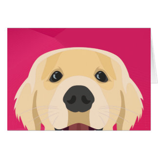 Illustration Golden Retriver with pink background Card
