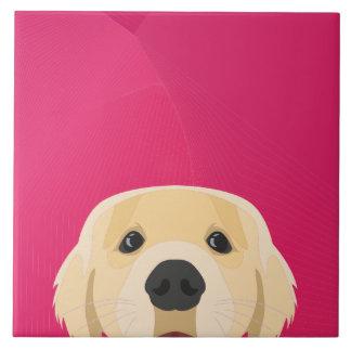 Illustration Golden Retriver with pink background Ceramic Tile