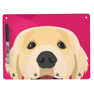 Illustration Golden Retriver with pink background Dry Erase Board With Key Ring Holder