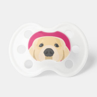 Illustration Golden Retriver with pink background Dummy