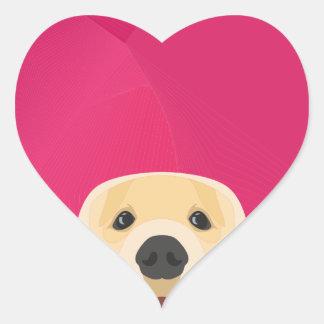 Illustration Golden Retriver with pink background Heart Sticker
