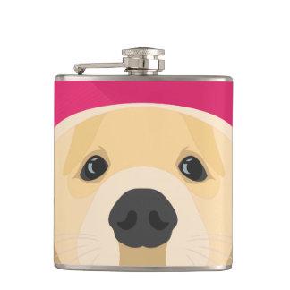 Illustration Golden Retriver with pink background Hip Flask
