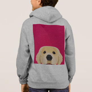Illustration Golden Retriver with pink background Hoodie