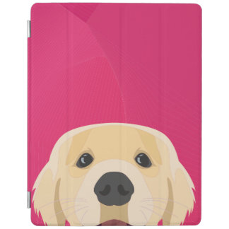 Illustration Golden Retriver with pink background iPad Cover