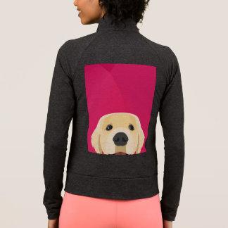Illustration Golden Retriver with pink background Jacket