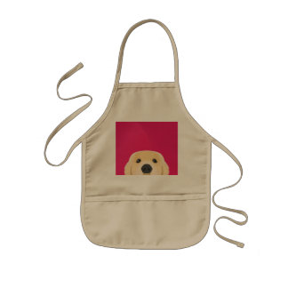 Illustration Golden Retriver with pink background Kids Apron