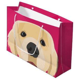 Illustration Golden Retriver with pink background Large Gift Bag
