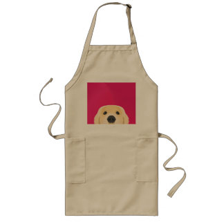 Illustration Golden Retriver with pink background Long Apron
