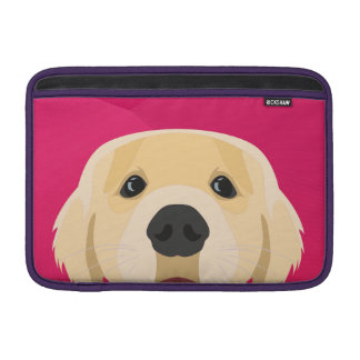 Illustration Golden Retriver with pink background MacBook Sleeve