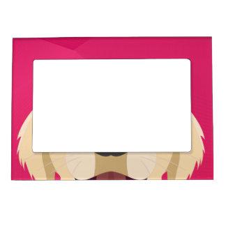 Illustration Golden Retriver with pink background Magnetic Picture Frame
