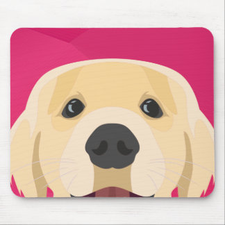 Illustration Golden Retriver with pink background Mouse Pad
