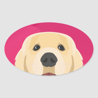 Illustration Golden Retriver with pink background Oval Sticker