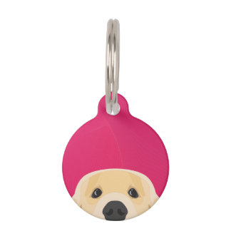 Illustration Golden Retriver with pink background Pet ID Tag