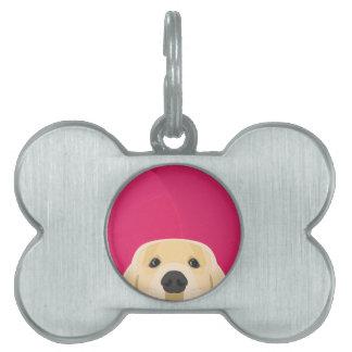 Illustration Golden Retriver with pink background Pet Name Tag