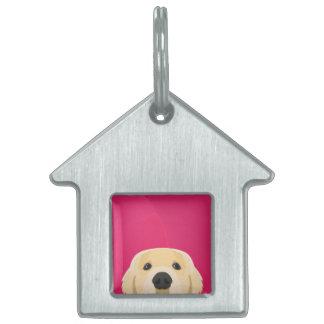 Illustration Golden Retriver with pink background Pet Tag