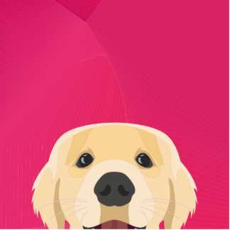 Illustration Golden Retriver with pink background Photo Sculpture Badge
