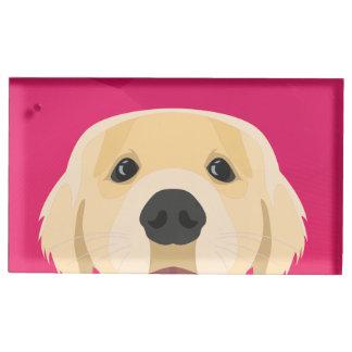 Illustration Golden Retriver with pink background Place Card Holder