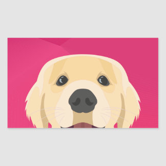 Illustration Golden Retriver with pink background Rectangular Sticker