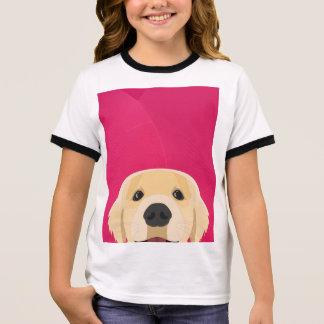 Illustration Golden Retriver with pink background Ringer T-Shirt