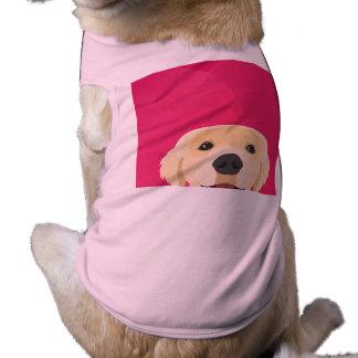 Illustration Golden Retriver with pink background Shirt