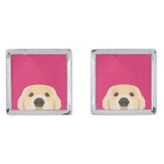 Illustration Golden Retriver with pink background Silver Finish Cufflinks