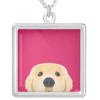Illustration Golden Retriver with pink background Silver Plated Necklace