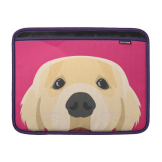 Illustration Golden Retriver with pink background Sleeve For MacBook Air