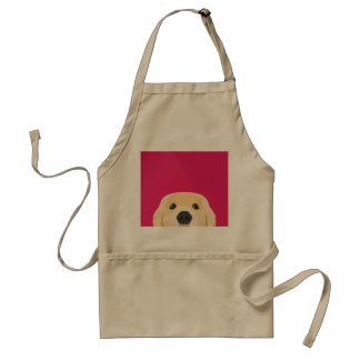 Illustration Golden Retriver with pink background Standard Apron